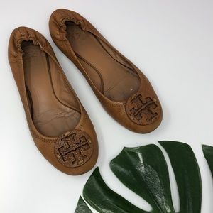 Tory Burch Brown Leather Minnie Ballet Flat 9 B1